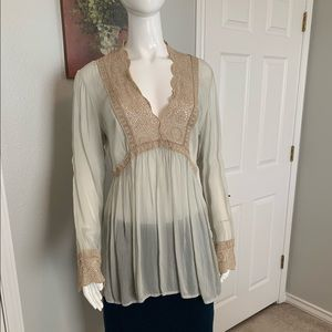 Johnny Was Rayon Blouse w/ Taupe Lace Embroidery